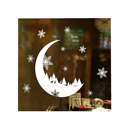 ODJOY-FAN Weihnachten Wandtattoos Fenster Aufkleber Weihnachtsschnee Dekoration Schlafzimmer Mauer Sticker Wallpaper Wall Stickers Wallpaper Decor (25x35cm) (Weiß,1 PC)
