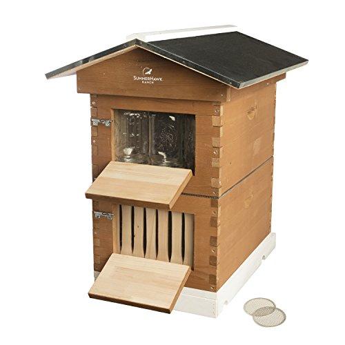 SummerHawk Ranch Honig Jar Hive–Eigenschaften Innovative Honig Ernte System, Aufbewahren Honig Direkt in Mason Gläser, Langlebig Backyard Bee Hive, Holz Bee House für Imker