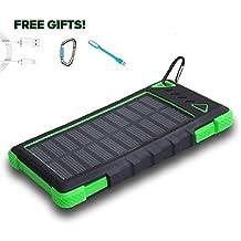 Solar Power Bank 12000mAh, PowerLocus® Solar Ladegerät Batterie für iPhone Android-Handy Samsung iPad Tablet Camera GPS, Dual USB Port Tragbares Schnittstelle Externer Akku Backup Wasserdicht Stoßfest Staubdicht (Grün)
