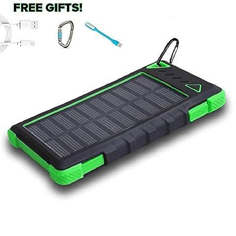 Solar Power Bank 12000mAh, PowerLocus® Solar Ladegerät Batterie für iPhone Android-Handy Samsung iPad Tablet Camera GPS, Dual USB Port Tragbares Schnittstelle Externer Akku Backup Wasserdicht Stoßfest Staubdicht