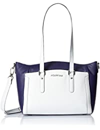 Aquatan Women's Two Toned Paradise Large Leather Tote Bag Blue and White AT-L-08
