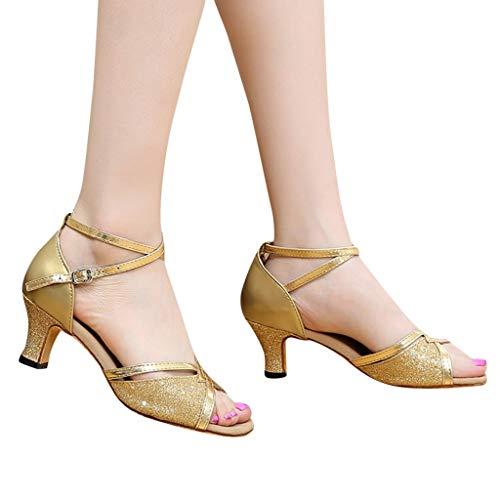Dorical Damen Weich Tanzschuhe Latein Ballroom Tanz Schuhe Gummi Sohle mit 5 cm Absatz Standard Latin Dance für Mädchen (Bitte bestellen Sie eine Nummer grösser) 35-41 EU(Gold,41 EU)