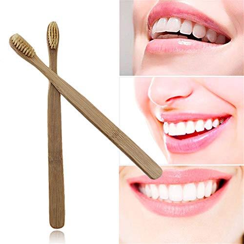 Spazzolino da denti in bambù naturale, Huhuswwbin ambientale spazzolino Oral Care spazzola a setole morbide per adulti