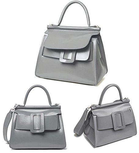 XinMaoYuan women's handbags, Borsa a secchiello donna Noir avec la Serpentine Grigio