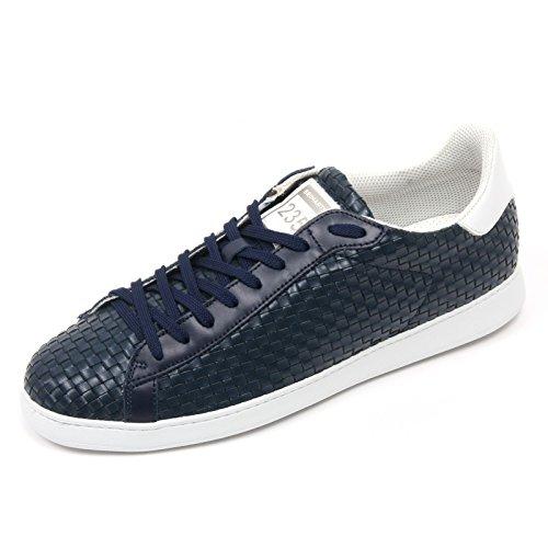 C2904 sneaker uomo BRIMARTS scarpa blu intreccio fondo gomma shoe man Blu