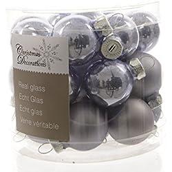 Mini-palline di Natale in vetro set di 24 2,5 cm Lilla lucido/opaco