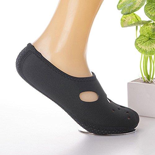 Yiwa Wasser-Haut-Schuhe Antiskid Schnorcheln Tauchen, Socken, atmungsaktiv, schnell trocknend Beach-Socken für Tauchen Surfen Schwimmen, Herren, Schwarz, S35-36
