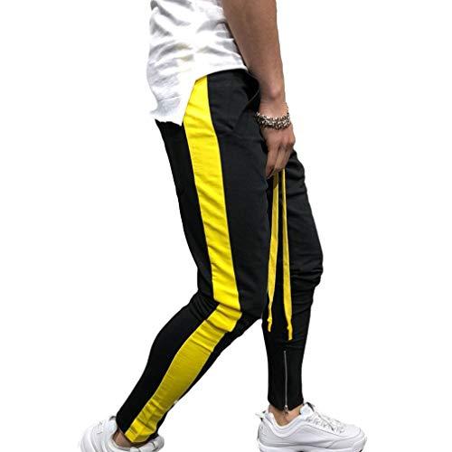 Farbabstimmung Sporthosen Reißverschluss Füße Hosen Freizeithosen Männer Hosen Harem Sweatpants Slacks Lässige Jogger Sportwear Baggy Hiphop Pant Gelb 3XL ()