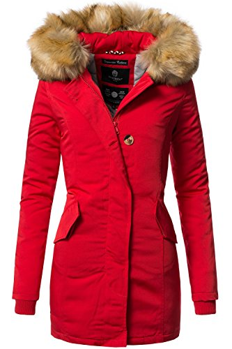 Marikoo Damen Winter Mantel Winterparka Karmaa XS-XXXXXL (vegan hergestellt) Rot Gr. S