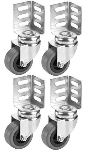 Dörner + Helmer Set Lenkrollen mit Winkelblech (38x38x52 mm, 50x21 mm, Gummirad, Tragkraft 40kg/Rolle, 4 Stück) 450107