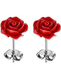 Boucles d'oreille en acier inoxydable avec des pierres Corail - conception de Fleur - Disponible en plusieur couleur