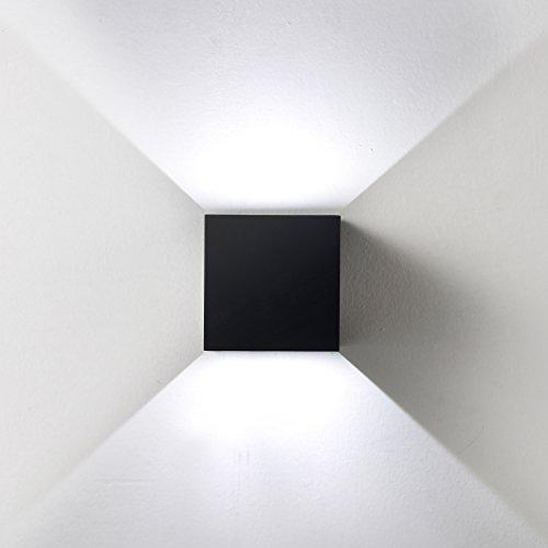 Topmo 12W LED Wandlampe mit einstellbar Abstrahlwinkel Wasserdichte IP65 Wandbeleuchtung 6000K kaltweiß Quadrat LED Außenwandleuchten (schwarz-kaltweiß)