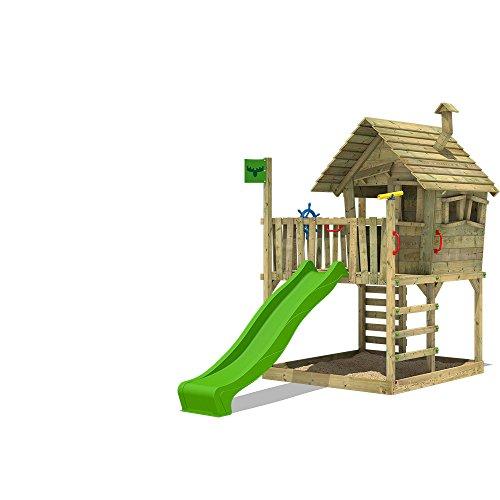 FATMOOSE Spielhaus auf Podest WackyWorld Mega XXL Spielturm Kletterturm mit Rutsche, Holzdach,...