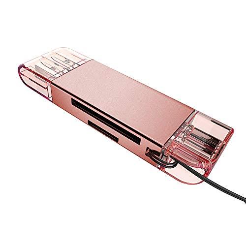 Xshuai High Speed USB 3.0 + Typ C 2 in 1 Speicherkartenleser Flash-Adapter Micro SD SDXC (Rose Gold)
