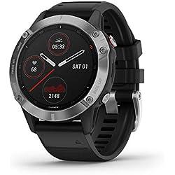 Garmin Fenix 6 - Reloj inteligente con GPS para outdoor, color plata y negro con correa negra