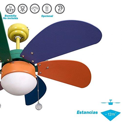 Ventilador de Techo Infantil 6 Aspas 1xE27 77 cm Di/ámetro. Colores