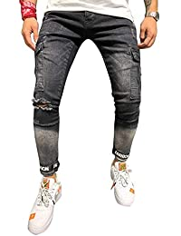 BMEIG Jeans Skinny da Uomo Slim Fit Strappati Stretch Denim Pants  Distressed Ripped Sfilacciato Pantaloni Patchwork 3cd556fab49