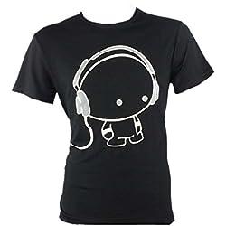 Tefamore Camiseta Hombre de manga corta de impresión de auriculares de la camiseta de ropa de moda de algodón Chico (Tamaño:M, Negro)