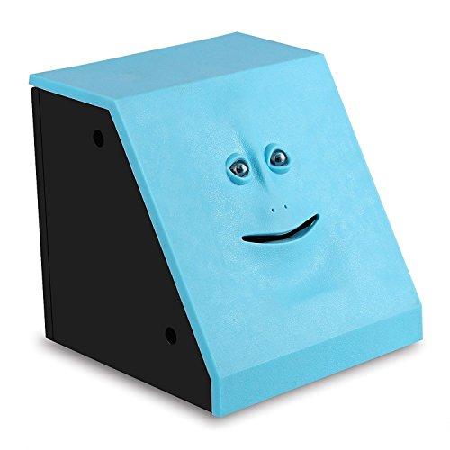 ShinMor Gesicht Münze Bank Geld Essen Münzenbank Batteriebetriebener AFFE Spardose Blau
