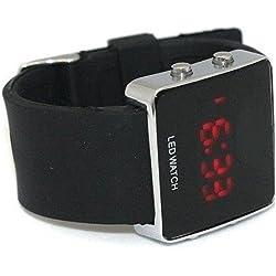 SODIAL(TM) Mirror Men Lady LED Digital Sport Unisex Watch Gift,- Black Colors