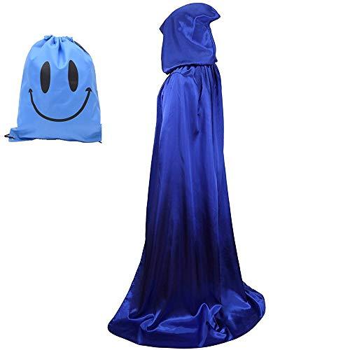 Myir Unisex Umhang mit Kapuze, Halloween Umhang für Erwachsene Kinder Cosplay Vampir Kostüm Halloween Kostüm (Blau, L)