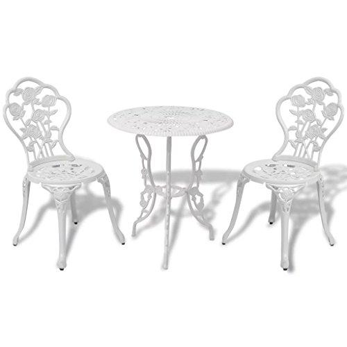 tiauant Gartenmöbelset für den Außenbereich, Tisch und Gartenstühle, 3-teilig, Weiß, Aluminiumguss, Set aus Edelstahl, Maße des Stuhls: 38 x 41 x 85 cm (B x T x H)