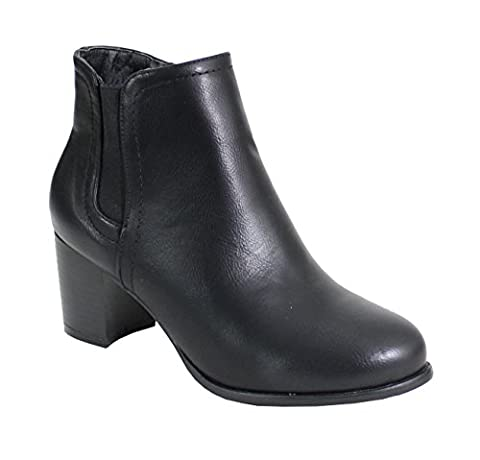 By Shoes - Bottine Talon Carré Style Cuir - Femme - A - S34 - Taille 38 - Black