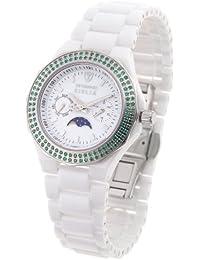 Detomaso Giulia Grün Ladies Edition DT3003-B - Reloj analógico de cuarzo para mujer, correa de cerámica color blanco (agujas luminiscentes, calendario lunar)