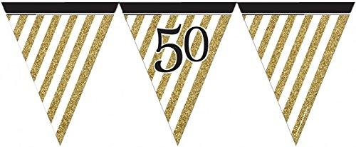 29 Teile Set zum 50. Geburtstag, Jubiläum oder Goldene Hochzeit – Party Deko in Schwarz & Gold - 4