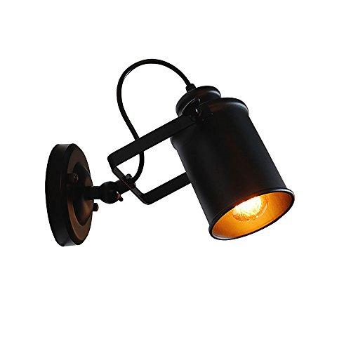 Retro regulable Lámpara de pared País De Pared Negro metal lámpara de pantalla para Hogar Dormitorio...
