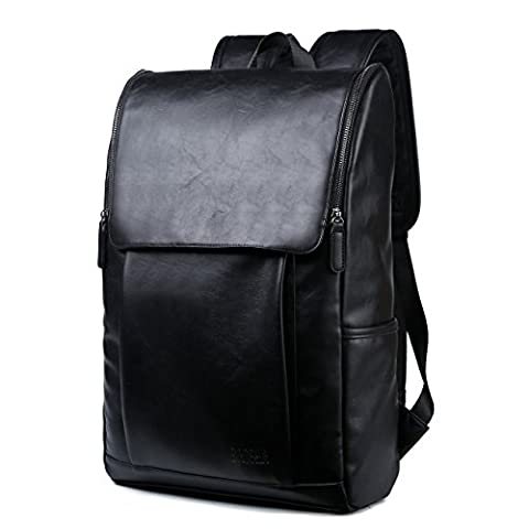 BAOSHA BP-25 PU Leather Laptop Backpack Computer Bag for 15.6 inch Laptop Notebook College School (Zaino Uomo Nero)
