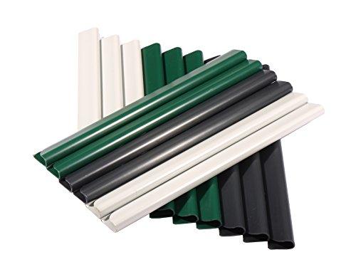 24 Stück PVC – Sichtschutzstreifen – Klemmschienen – Sichtschutz/ Windschutz für Garten und Zaun – Befestigungsclips – Doppelstabmattenzaun – Grau Universal
