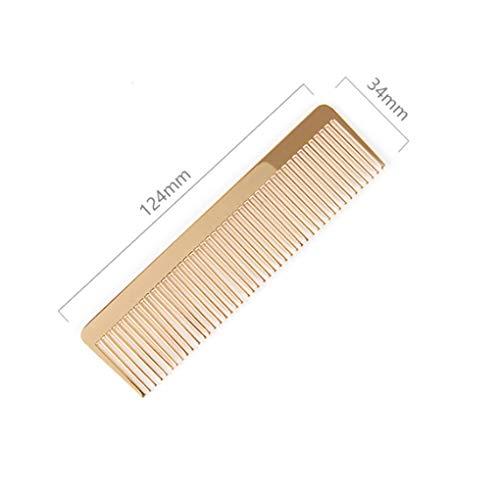 Fangfeen 12.4x3.4x0.2cm Männer Frauen Friseurtaschen Hairbrush goldenes Metall feingezahnten Legierung Comb
