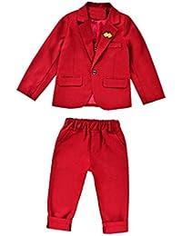 Conjunto De Tres Piezas Para Niño Chalecos De Sin Mangas + Chaqueta + Pantalones rojo