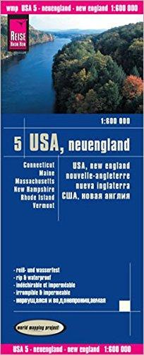 USA5: Nueva Inglaterra, mapa impermeable de carreteras. Escala 1:600.000 impermeable. Reise Know-How. por VV.AA.