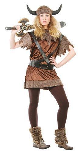Damen Nordic Viking historischen Warrior Samt Fancy Kleid Kostüm Outfit UK 14-16-18 - Braun, L