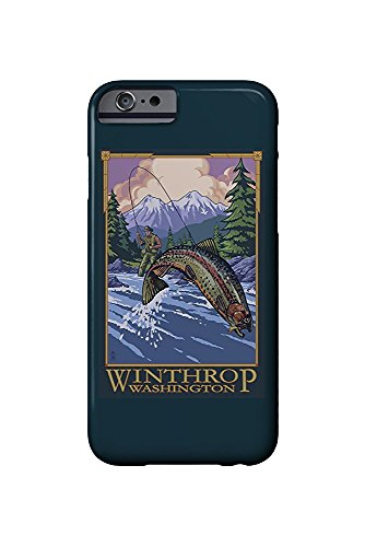 Winthrop, Washington - Angler Fly Fishing Scene (Leaping Trout) (iPhone 6 Cell Phone Case, Slim Barely There)