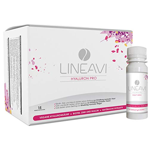LINEAVI Hyaluron Pro | Anti-Aging Beauty Drink mit veganer Hyaluronsäure | mit Zink, Biotin und Niacin zur Erhaltung normaler Haut, Haare und Nägel | in Deutschland hergestellt | 15 Trinkfläschchen - Drink Beauty