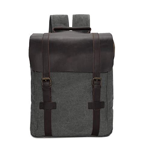 Wind Took Rucksack Daypack aus Canvas Leder Rucksäcke Vintage Retro Tagesrucksack für Uni Büro Alltag Wasserabweisend mit Laptopfach -