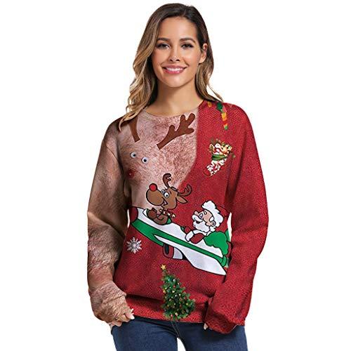 Auifor Frauen 3D Weihnachtsdruck Langarm Oansatz Pullover Sweatshirt Bluse Tops