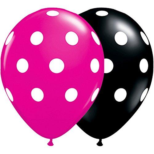 Qualatex 36.113,7cm rund schwarz und magenta Big Polka Dots