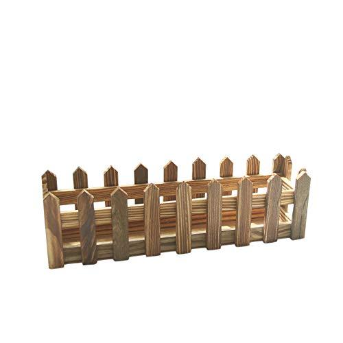 FiedFikt - Valla de madera con jarrón para decoración de jardín, D