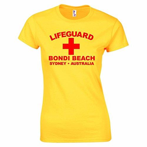 Damen Lifeguard Bondi Beach Sydney Australia Surfer Beach Kostüm T-Shirt Gelb (Kostüme Baywatch Australien)