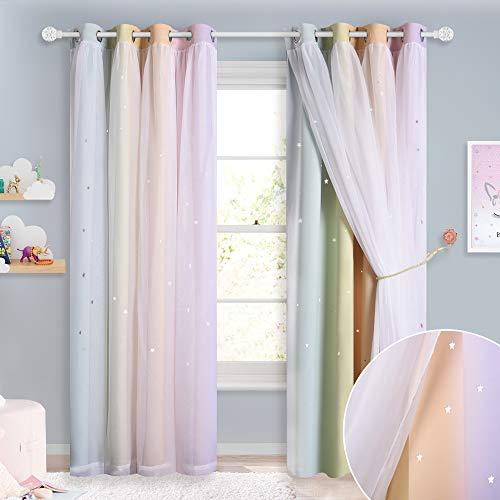 NICETOWN Kinderzimmer Gardinen Mädchen Dekoschal - Bunte Sterne Vorhänge mit Voile Ösenvorhang Blickdicht, 2er Set H 240 x B 132 cm, Regenbogen