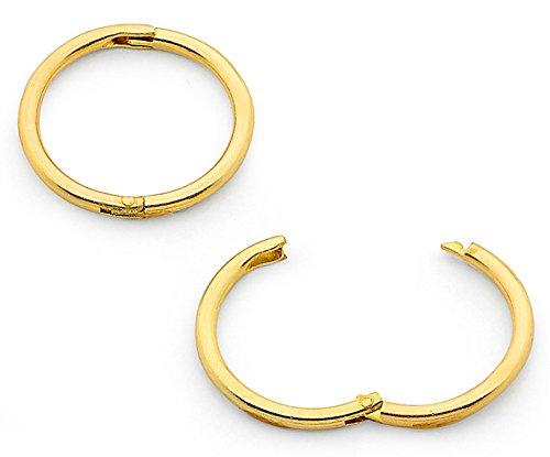 MENS 925 STERLING SILVER GOLD PLATED HINGED EAR HOOP//SLEEPER 8mm x 1 EARRING