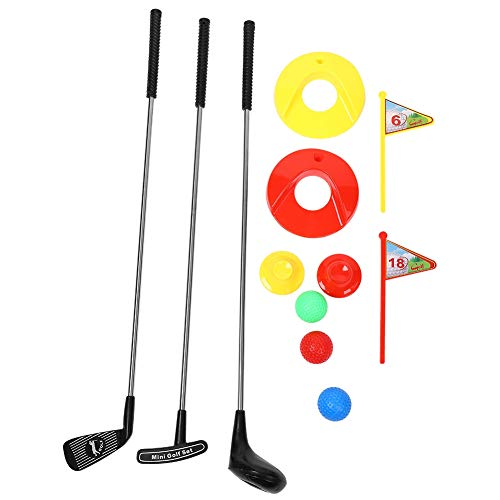 VGEBY1 Kinder Golfschlägerset, 10-TLG. Golfspielzeug-Set für den Außenbereich (3 Golfschläger + 3 Bälle + 2 Golfabschläge + 2 Übungslöcher mit Fahne)