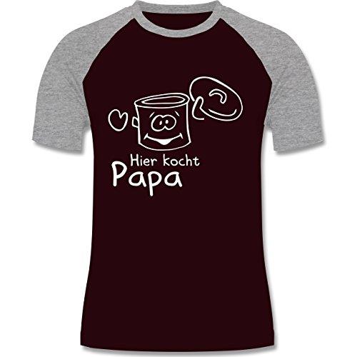 Küche - Hier kocht Papa - zweifarbiges Baseballshirt für Männer Burgundrot/Grau meliert