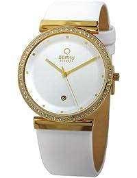 Obaku Harmony - Reloj analógico de cuarzo para mujer con correa de piel, color blanco