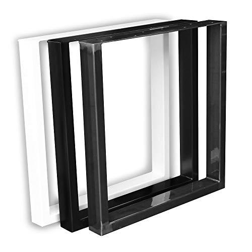 1 Paar (2 Stück) BestLoft Kufen - Tischkufen im Industriedesign aus Rohstahl (70x72cm, Schwarz Pulverbeschichtet)