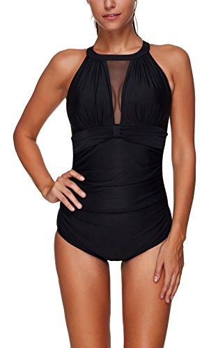Colfeel Mujer Traje de baño de Una Pieza Halter Elegante Push up Monokini para Playa, Piscina, Fiesta, Natación
